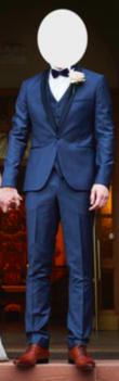 Costume 3 pièces bleu foncé finitions satin Emmanuelle Khanh - Occasion du Mariage