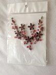 Parure or fleurs bordeaux et rouges  - Occasion du Mariage