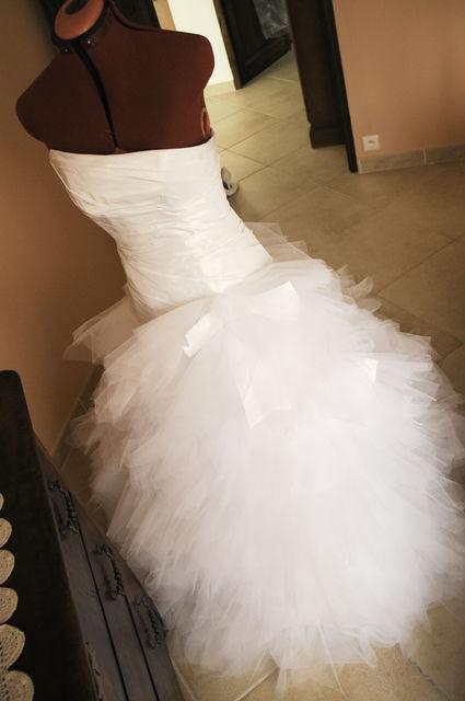 Robe de mariée cymbeline d'occasion courte ou longue, bustier asymétrique