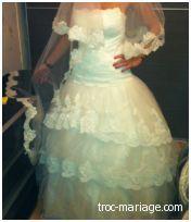 Robe de mariée Pronuptia d'occasion avec voile et cerceau