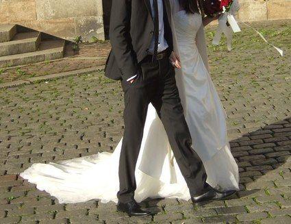 Robe de mariée bustier T38 avec jupon d'occasion en 2013