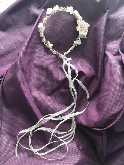 Couronne mariée fleurs satin perles rose/ivoire - Hérault