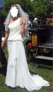 Robe de mariée Pronovias style original type déesse Grecque en soie sauvage