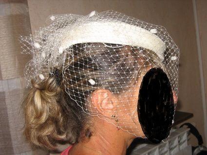 Chapeau de mariée Bibi et sa voilette ivoire - Occasion du Mariage