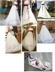 Robe de mariée forme trapèze blanc cassé d'occasion avec chaussures
