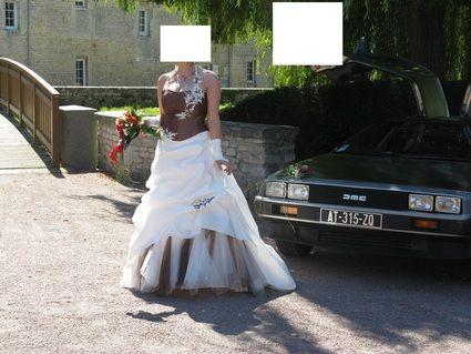 Robe de mariée 38/40 ivoire et chocolat + accessoires d'occasion