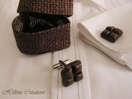 Boutons de manchettes Chocolat noir pour costumes de mariée d'occasion