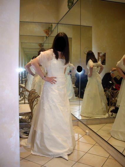 Robe de mariée d'occasion T40-42 en soie et dentelle de Calais