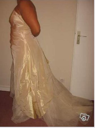 Robe de mariage Illitulle couleur Champagne avec Jupon et étolle