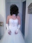Robe de mariée bustier blanche d'occasion avec gants et collier