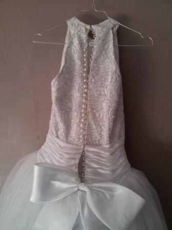 Robe de mariée d'occasion en perle et tulle, col mao, jupe en satin