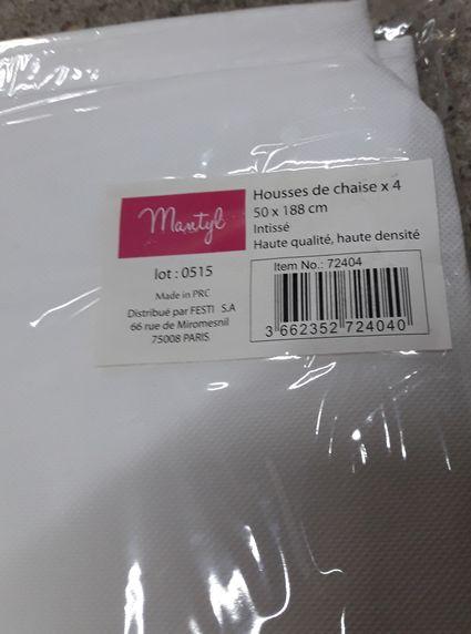 4 housses chaises intissé blanches - Loiret