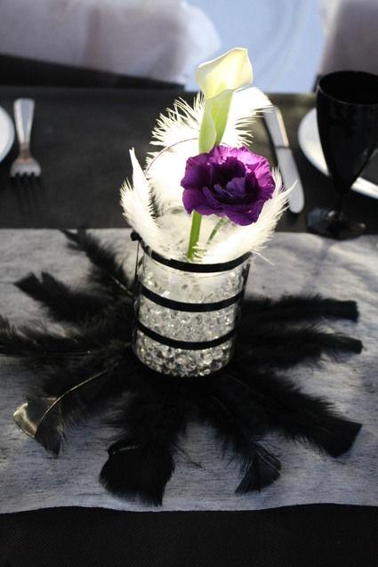 Pot en verre , perle d eau , plume - Occasion du Mariage