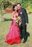 Robe de mariée rouge et reflets rose  - Occasion du Mariage