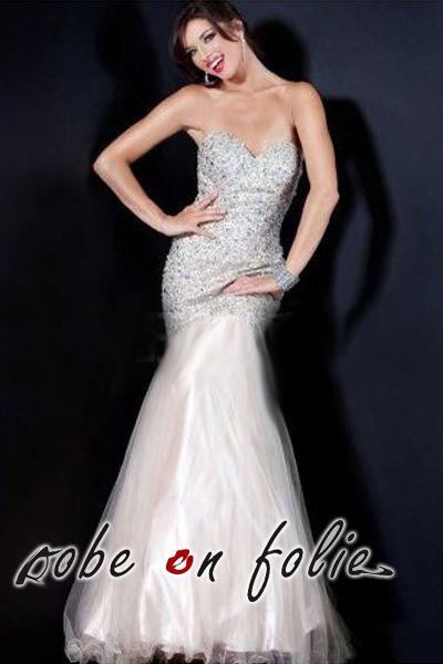 Très chic robe de soirée mariée longue en satin et mousselin pas cher d'occasion 2012 - Ile de France - Yvelines - Occasion du Mariage
