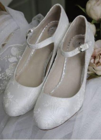 Chaussures mariage Martha 38 en satin et dentelle ivoire - Hérault