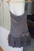 Robe bustier grise jupe à volant - Occasion du Mariage