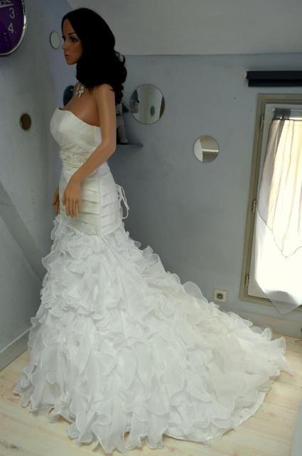 Robe de mariée d'occasion style Sirène couleur ivoire - Occasion du Mariage
