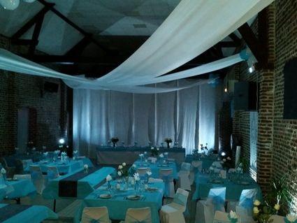 housse de chaise noeuds chandelier déco de mariage - Ardennes