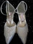 Chaussures de Mariée blanches neuves T41 avec perles sequins - Occasion du Mariage