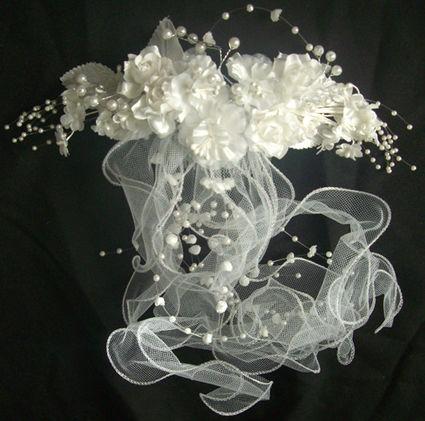 Bijoux peigne de mariée pas cher orgenza rose en satin - Occasion du mariage