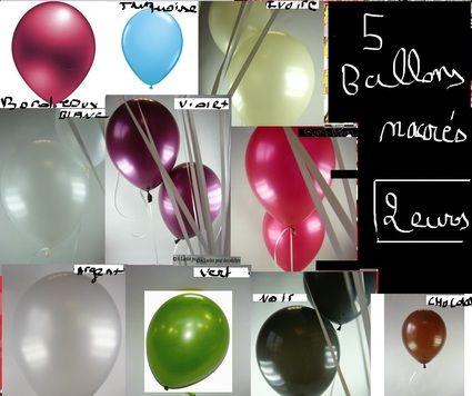 Lot de 5 ballons nacres  en décoration de salle de mariage