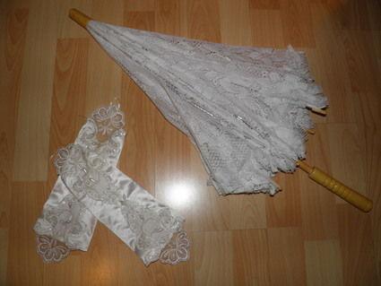Robe de mariée blanche dos nue + ombrelle et jupon