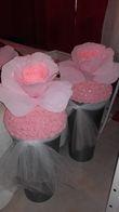 2 pots de fleurs en crépon géantes - Occasion du Mariage