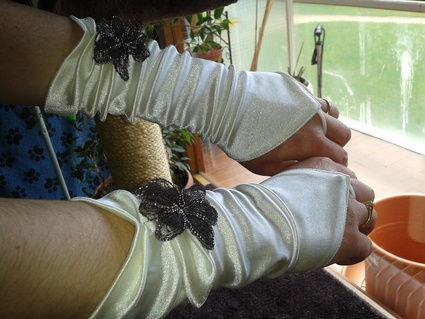 Robe de mariage et accessoires thème champêtre ivoire et chocolat