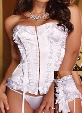 Corset mariage froufrous et gros noeuds satin Dreamgirl