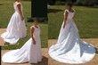 Robe de mariée blanche satinée avec traîne, bustier intégré - Occasion du Mariage