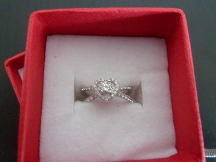 Bague de mariée coeur en or blanc de zirconiums - Occasion du Mariage