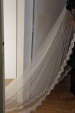 Voile de mariée de 3m style Bohème Chic, Tulle de soie, dentelle de Calais