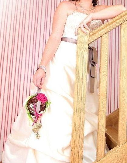 Robe de mariée d'occasion champagne-marron glacé