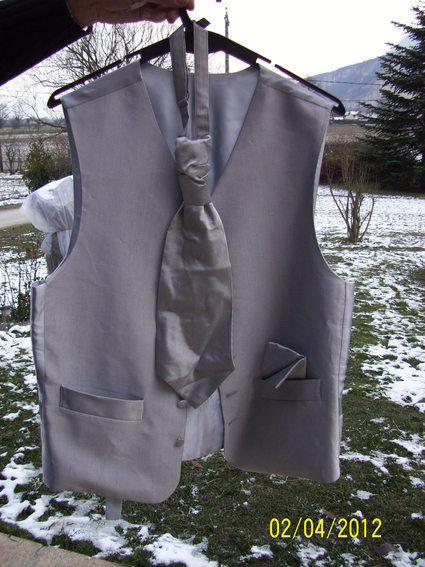 Gilet de marié, cravalière et pochette d'occasion T46