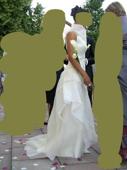 Robe de mariée bustier Pronuptia d'occasion avec patchwork d'organza vanille