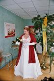 Robe de mariée grande taille bordeau écru + guêpière, jupon et jarretière