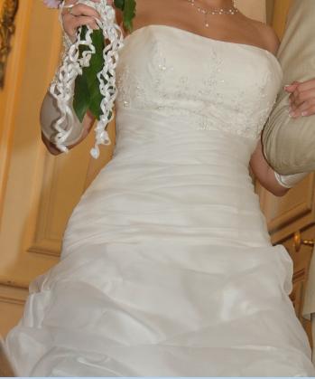 Magnifique Robe de mariée Bustier Organza Ivoire Nacrée d'occasion