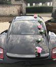 Deco voiture cœur rotin et fleur rose  - Occasion du Mariage