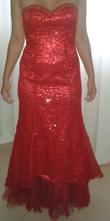Robe sirène 1 pièce rouge brodée et perlée - Occasion du Mariage