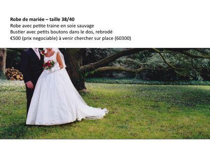Robe de mariée d'occasion en soie sauvage avec traine - Occasion du Mariage