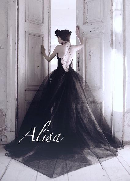 Robe de mariée noir Kristen, creation Alisa - Alpes Maritimes