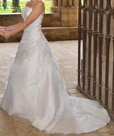 Robe de Mariée pas cher avec boléro en satin et jupon T36 - Occasion du Mariage