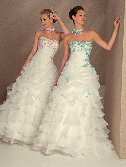 Robe de mariée Béatrice bleu turquoise d'occasion