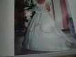 Robe de mariée originale écru et bordeaux d'occasion