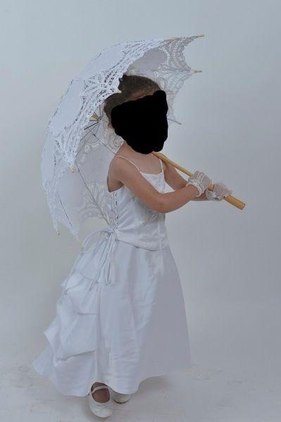 Robe de mariage enfant de 2/3 ans avec gants et pince à cheveux