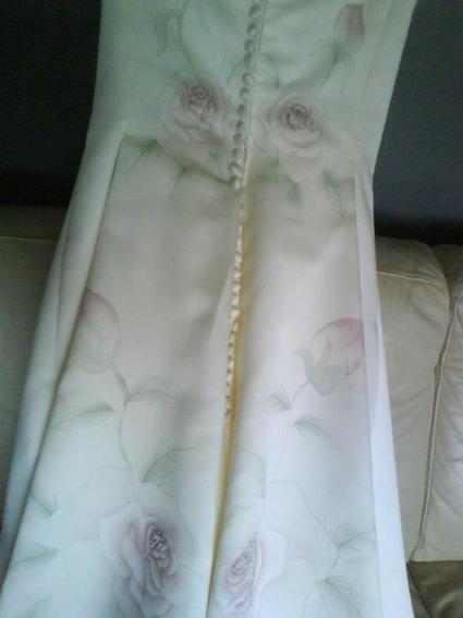 Robe de mariée bustier St Patrick d'occasion avec longue traîne