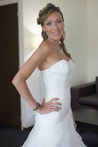 Robe de mariée haut de gamme couleur écru et voile offert - Occasion du Mariage