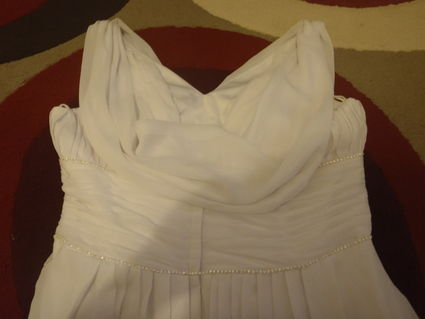 Robe de mariée Empire en mousseline de soie avec petite traîne
