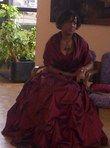 Robe de mariée d'occasion couleur bordeaux avec jupon - Occasion du Mariage